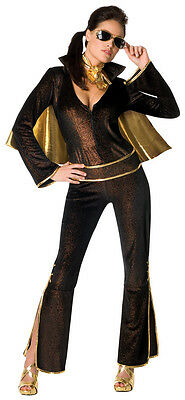 Elvis Female Rock Star Black Gold Jumpsuit Sexy Dress Up Halloween Adult - Female Elvis Costumes