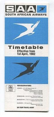 SOUTH AFRICAN AIRWAYS SAA TIMETABLE APRIL 1982 SAL