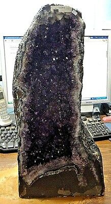 TALL   BRAZILIAN DARK AMETHYST CRYSTAL CATHEDRAL GEODE CLUSTER POLISHED