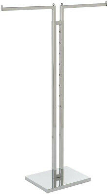 Clothing Rack Two Way Straight 2 Arms Clothes Garment Retail Display Chrome