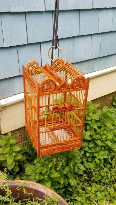 """Unique vintage All Wood Bird Cage """"The Chateau indoor outdoor"""