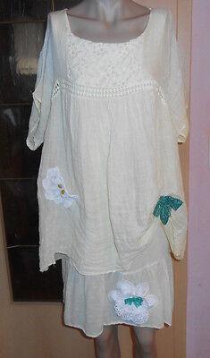 Upcycling Kleid Leinen Vintage Nostalgiedress Lagenlook Batik 40 42 44Spitzen