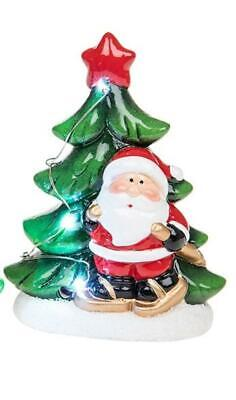Boxed Medium Father Christmas Santa Tree Star Snow LED Light up Red Green Gift