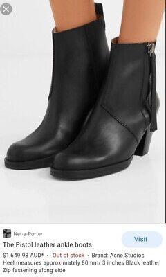 ACNE STUDIOS $570 Pistol Boots Women's Black Leather Zip Ankle Boots 38/7.5/8