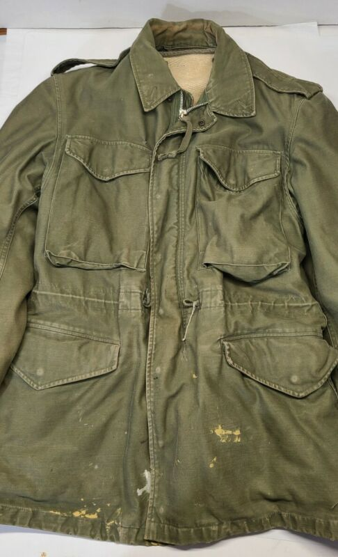 Vintage 1958 Army Jacket WR Sateen Olive Green 107 Military Drab & Liner 50s