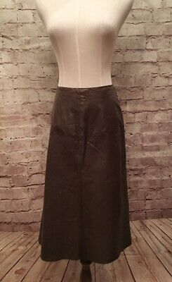 Vtg Banana Republic Olive Drab Leather A- Line Skirt  Distressed Raw Edge Size 4