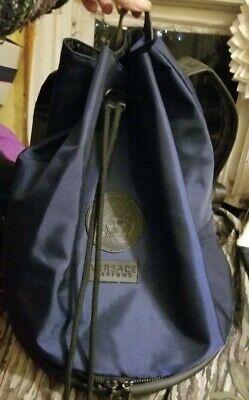 Versace Parfums Mens Blue Black Drawstring Backpack Bucket Bag EUC nice