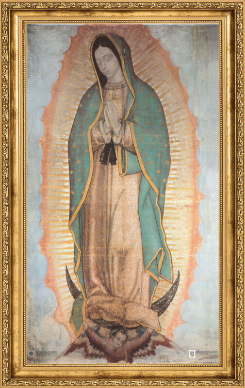 """Our Lady of Guadalupe Religious Gold Faux Frame Stretched Canvas 24""""x36""""x1.5"""""""