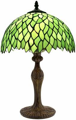 Tiffany Style Table Lamp Light Green Wisteria Stained Glass Lampshade 18 Inch Green Tiffany Lamp