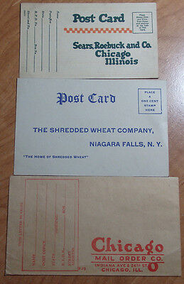 LOT OF 3 1920'S -40'S ADVERTISEMENT CORRESPONDENCE SEARS, SHREDDED WHEAT ,OTHER