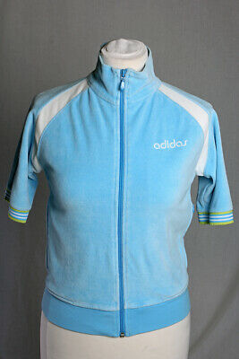 Adidas Velour Baby Blue White Cropped Zip Jacket  Big Logo Pockets Size M VGC!