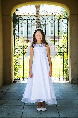 Sequined Organza Overlay Holy First Communion Flower Girl Dress Wedding Formal](Girls Holy Communion Dresses)