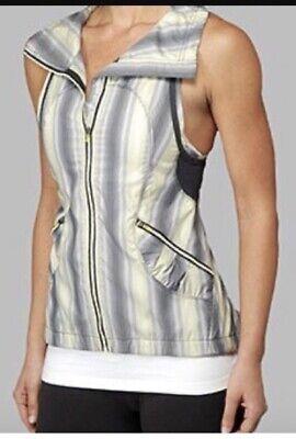 Lululemon Run Reflection Vest SZ 10 Coal Citron Stripe Gathered Back NWOT