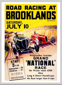 -A3 Size- Brooklands 1930s - Motor Car Racing Vintage Poster #09