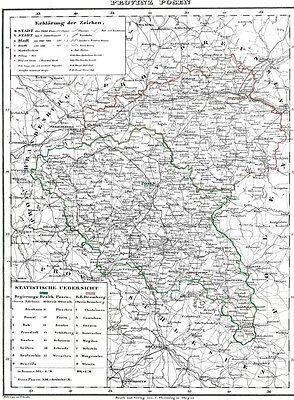 172 Jahre alte Landkarte POSEN Wartheland Bromberg Lissa Pleschen Schwerin 1844