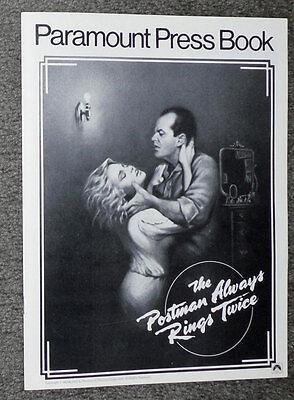 THE POSTMAN ALWAYS RINGS TWICE orig 1981 pressbook JACK NICHOLSON/JESSICA LANGE
