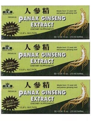 3 boxes ROYAL KING PANAX GINSENG EXTRACT 8000MG, Total 90 Bottles 13.8% ALC