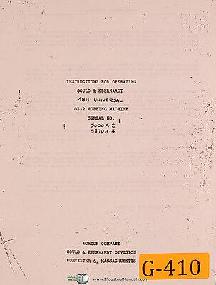 Gould Eberhardt Norton 48h Gear Hobbing Machine Instructions Manual 1948