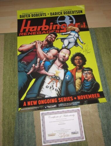 EXCLUSIVE HARBINGER: RENEGADES #1 PROMO POASTER SIGNED BY RAFER ROBERTS!!
