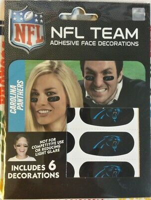 NFL set/6 Eye Black Strip Stickers Carolina Panthers (Face/Body Decorations) 3pr (Carolina Pr)