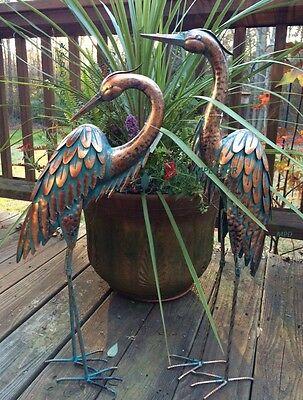 "Copper Patina Garden Heron Pair Metal Statues Bird Art Sculptures Crane 27.5""H"