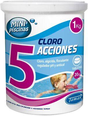 Cloro 5 Acciones Tabletas Multifuncion 20 gr Especial Mini Piscinas Bote de...