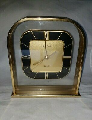 Vtg Bulova Brushed Brass Quartz Desk/Mantle Clock NICE Condition B1758 WORKS