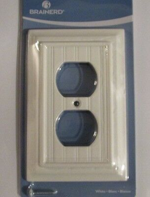 NEW Brainerd Deluxe Single Duplex Outlet Switch Wall Plate Cover White Beadboard