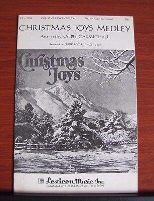 Christmas Joys Medley by Carmichael- 1976 sheet music Gospel- Vocal Piano -