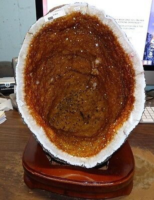 BRAZILIAN CITRINE CRYSTAL CATHEDRAL GEODE CONE FROM BRAZIL; CLUSTER, WOOD STAND