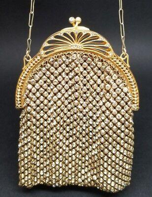 Antique Vintage Rhinestone Mesh Evening Purse Bag Jeweled France Flapper 1920s