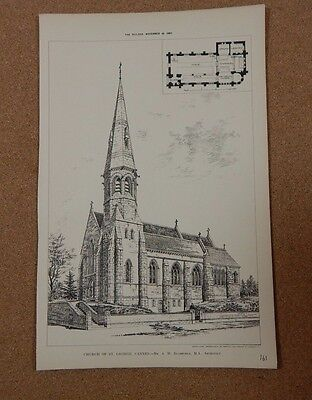 Antique architects print Church of St George Cannes The Builder 1887