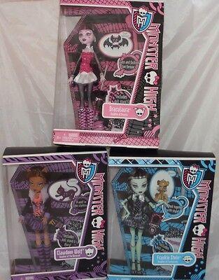 Monster High Original Favourites Doll Clawdeen Wolf Draculaura Frankie 2012 NEW