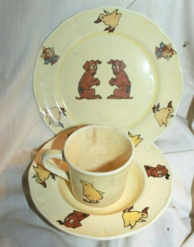 Vintage MPC Childrens Cup Plate Bowl Set Brown Dog Yellow Chick Brown Cat