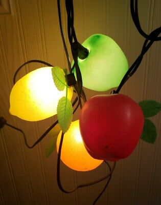 Vintage Mid Century Blow Mold Plastic Fruit String Light Cover Patio