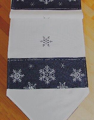 Tischläufer Tischdecke Stickerei Schneeflocke modern 40cm x 140cm