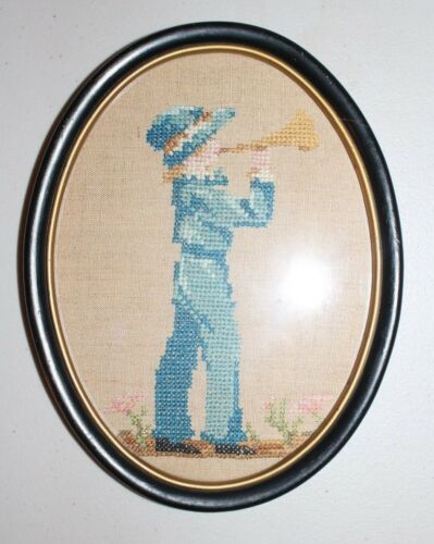 Boy With Trumpet Hand Embroidered Completed Finished Framed