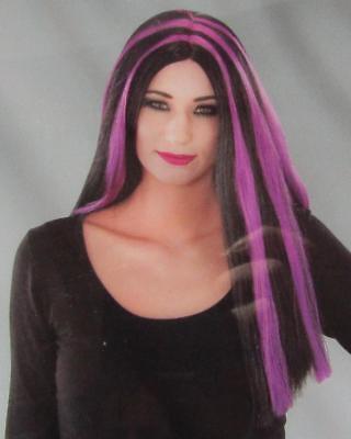Lange Schwarze Haare, Perücke Halloween (Damen Perücke Langhaarperücke Hexe schwarz lila Halloween Gothic NEU OVP)