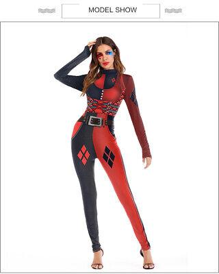 Suicide Squad Harley Quinn Jumpsuit Cosplay Costume Bodysuit Zentai Women Tights](Harley Quinn Bodysuit Costume)