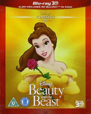 Disney's BEAUTY AND THE BEAST 3D + 2D BLU-RAY With SLIPCOVER Region-Free