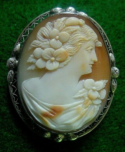 ANTIQUE Sterling Cameo Brooch Pin Pendant Flora Chloris Victorian Lady Woman