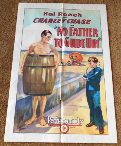 NO FATHER TO GUIDE HIM - 1925 CHARLEY CHASE Silent Film ONE SHEET MOVIE POSTER