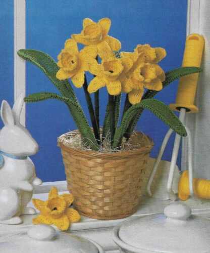 DAFFODIL BOUQUET FLOWER ARRANGEMENT HOME DECOR CROCHET PATTERN INSTRUCTIONS