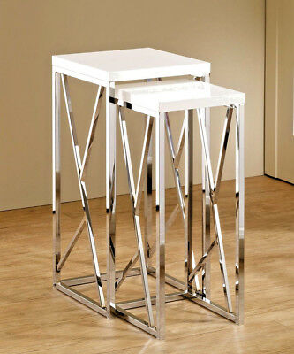 2 Piece Chrome Nesting Side Table Set with GLOSS WHITE Top 29