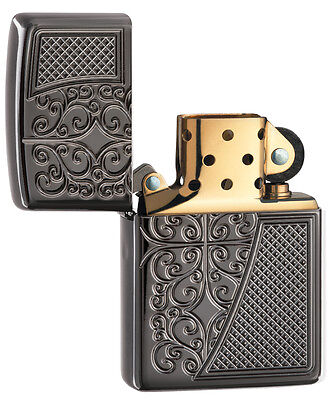 Zippo Choice Engraved Armor Old Royal Filigree WindProof Lighter Black Ice -