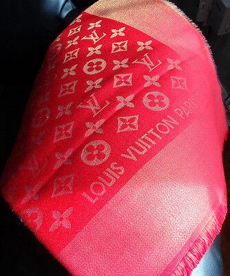 Louis Vuitton Monogram Shine Shawl Bright Red with Gold Lurex Silk Wool