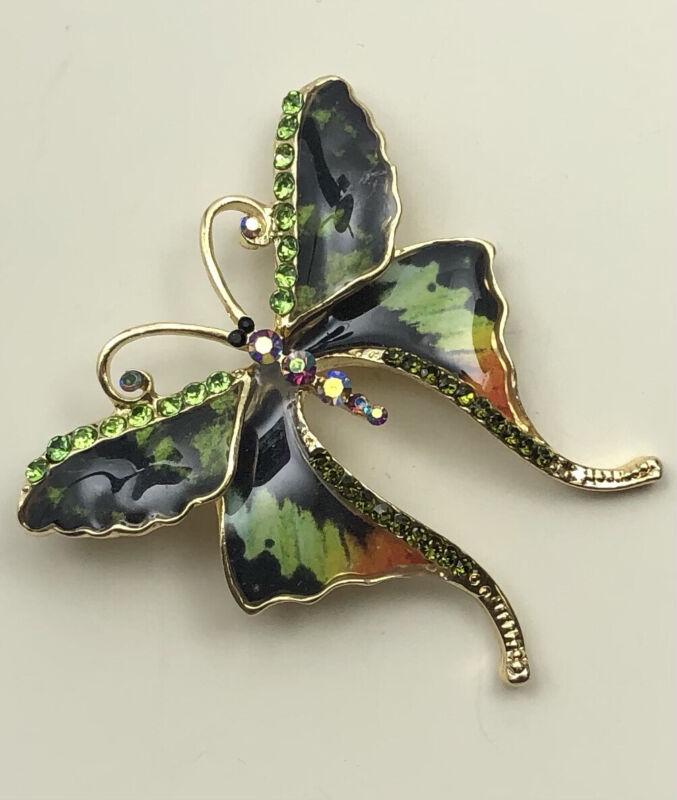 Vintage style Butterfly Brooch Pendant Enamel on gold tone Metal