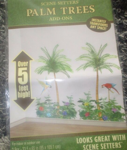 PALM TREE SCENE SETTER 5 FT HIGH HAWAIIAN PIRATE PARTY TROPICAL PARROTS
