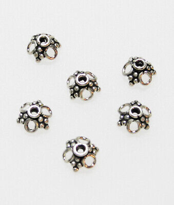Bali Style Bead Cap - Sterling Silver Bali Style 8mm 3 Holed Bead Cap Pack of 6
