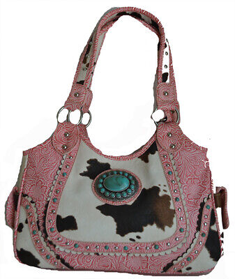 pink cow print western cowgirl shoulder purse women's rodeo buckle concho bag  Western Cow Print